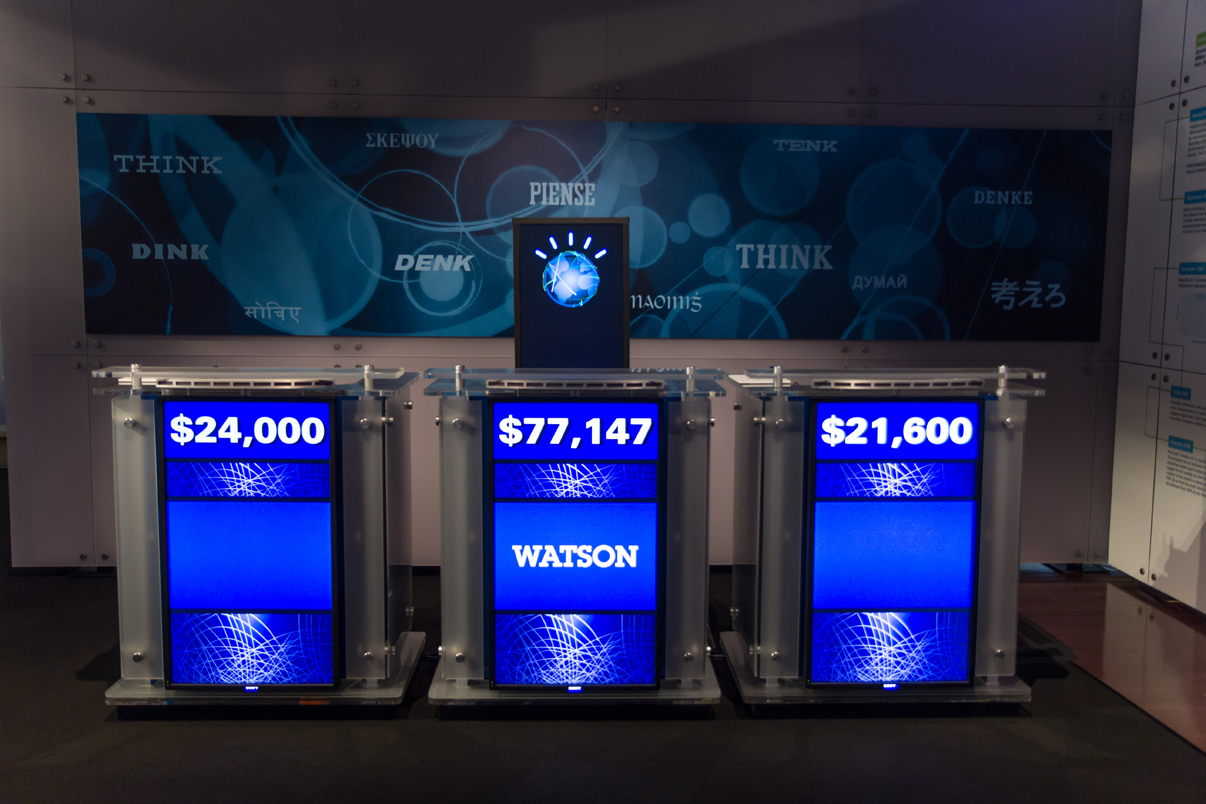 IBM Watson supercomputer in a game of Jeopardy